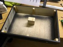 Box with support structures, ready for mounting the front plate.