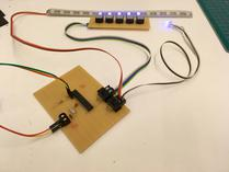Main strip board, about half way done. LEDs and push buttons are already working.