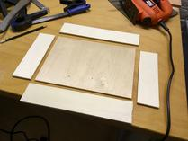 Bottom plate, and the four roughly cut sides (before sanding).